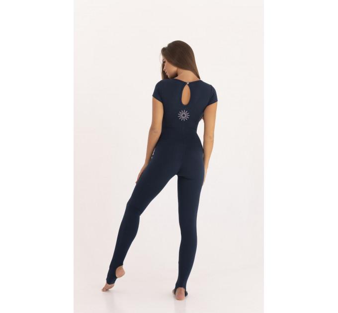 Спортивный комбинезон для йоги темно-синего цвета Classic Oval Saphire