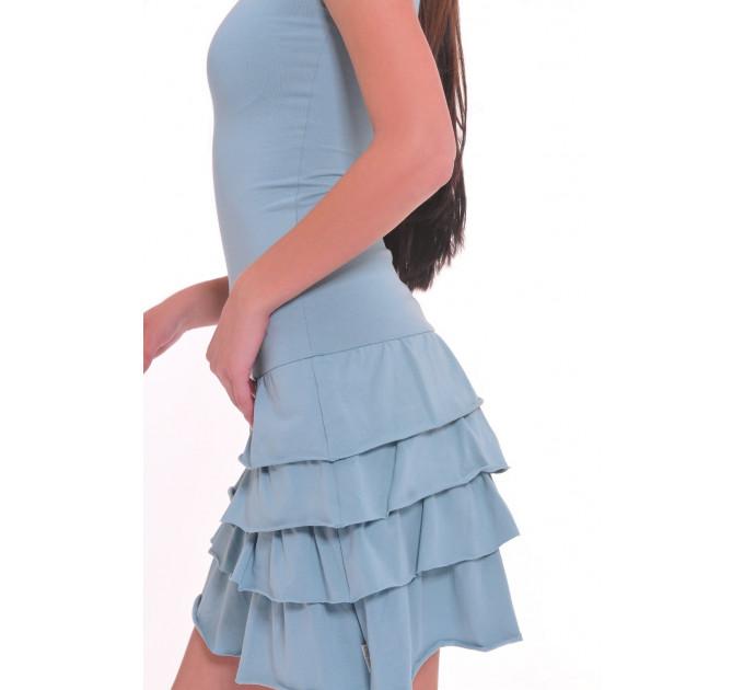 Трикотажное спортивное платье с рюшами в цвете петроль