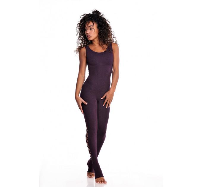 """Фиолетовый спортивный комбинезон для йоги и фитнеса со шнуровкой на спине и голени """"Grace Bri"""""""