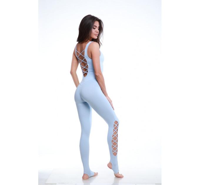 """Голубой спортивный комбинезон для йоги и фитнеса со шнуровкой на спине и голени """"Grace Blue"""""""