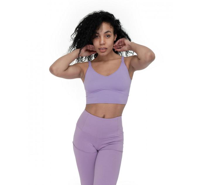 Костюм для спорта топ и леггинсы с шортами с высокой талией Mirra Lavender