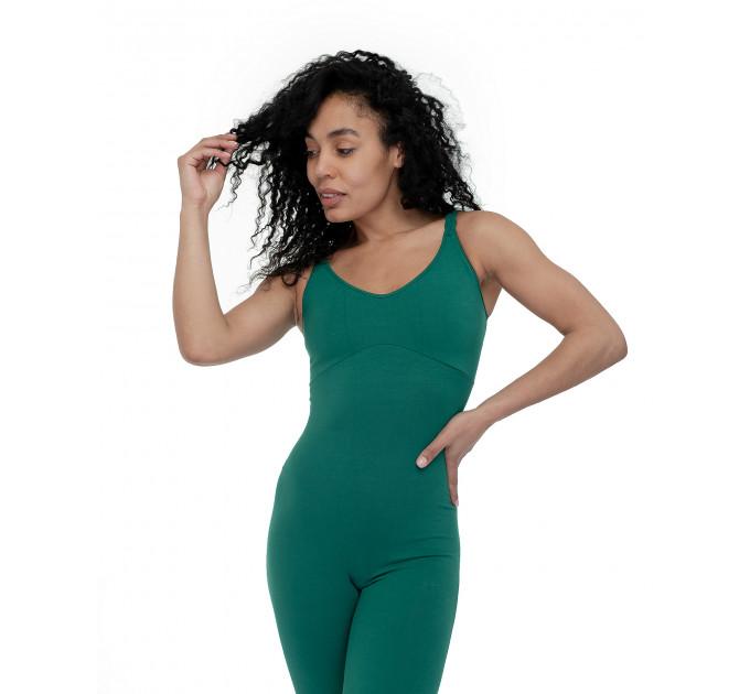 """Зеленый спортивный комбинезон для йоги и фитнеса с тонкими бретелями """"Mirra Сypress"""""""