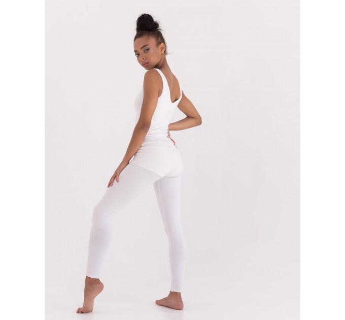 """Белый спортивный комбинезон из трикотажа для йоги и фитнеса """"Vanilla Ivory"""""""
