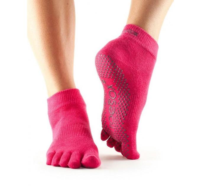 Нескользящие носки для йоги и танцев ToeSox Grip Full Toe Ankle (Fuchsia)