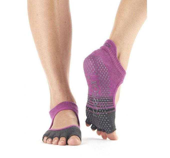Нескользящие носки для йоги и танцев ToeSox Grip Half Toe Bellarina (Mulberry Stripe)