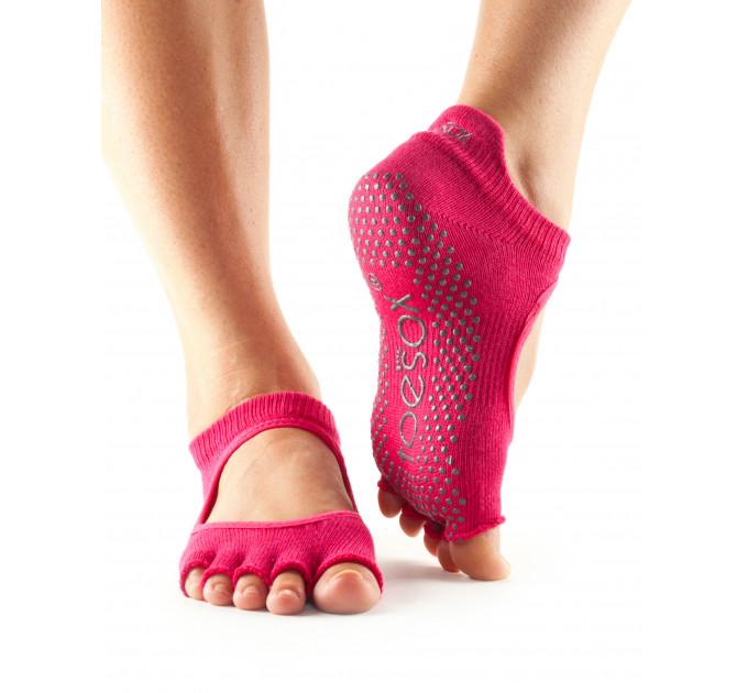 Нескользящие носки для йоги и танцев ToeSox Grip Half Toe Bellarina (Fuchsia)