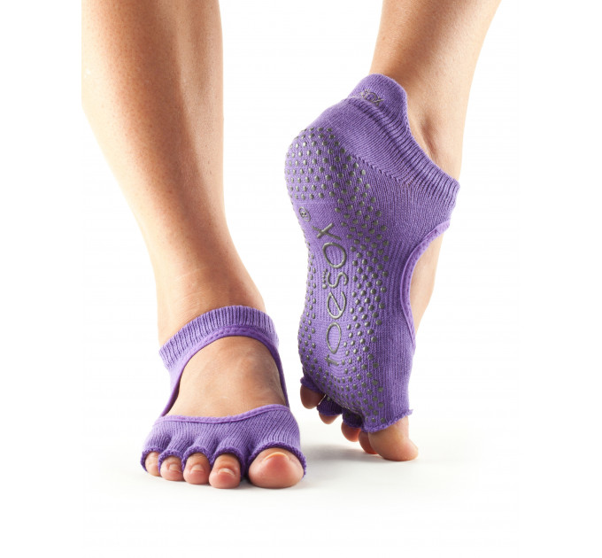 Фиолетовые нескользящие носки для йоги и танцев ToeSox Grip Half Toe Bellarina (Light Purple)