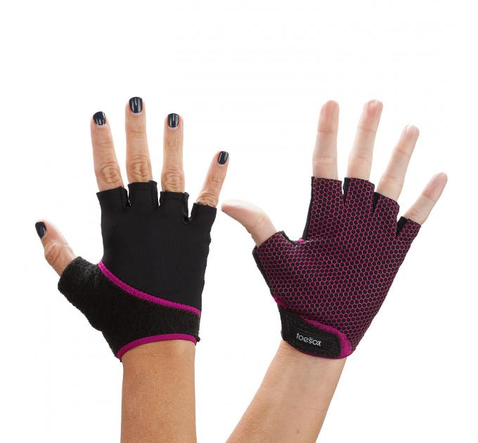 Нескользящие перчатки для йоги, стретчинга ToeSox Grip (Fuchsia)