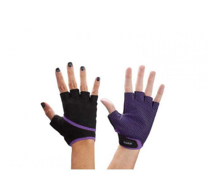 Фиолетовые нескользящие перчатки для йоги, стретчинга ToeSox Grip (Light Purple)