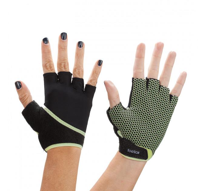 Черные женские перчатки для йоги и фитнеса  с силиконовыми капельками  GRIP GLOVES