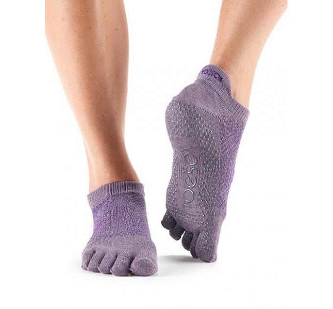 Нескользящие носки для йоги и танцев ToeSox Grip Full Toe Low Rise (Opal)