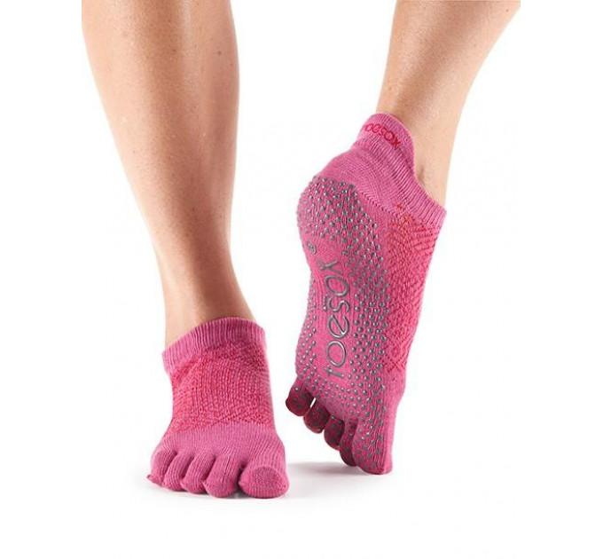 Розовые нескользящие носки для йоги и танцев ToeSox Grip Full Toe Low Rise (Ruby)