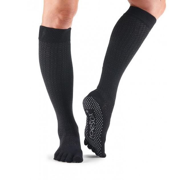 Черные нескользящие носки для йоги и танцев ToeSox Grip Full Toe Scrunch (Onyx)