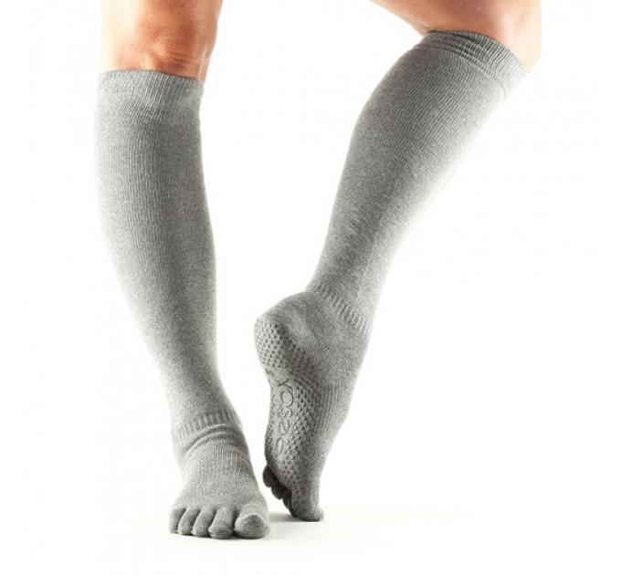 Серые нескользящие носки для йоги и танцев ToeSox Grip Full Toe Scrunch (Heather Grey)