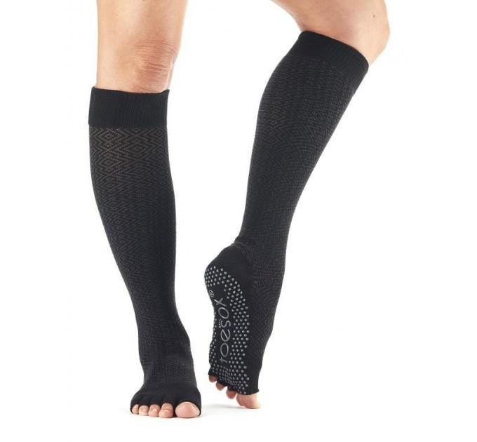 Черные нескользящие носки для йоги и танцев ToeSox Grip Half Toe Scrunch (Onyx)