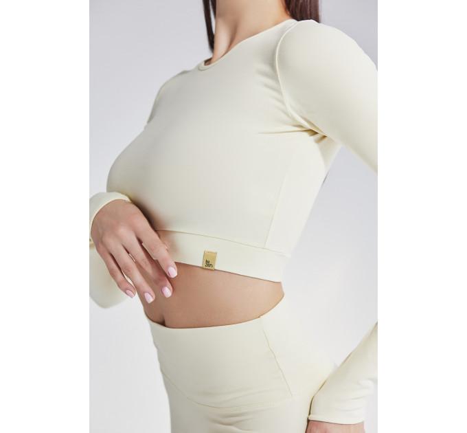 Женский спортивный топ с длинными рукавами молочного цвета Camilla Lactic