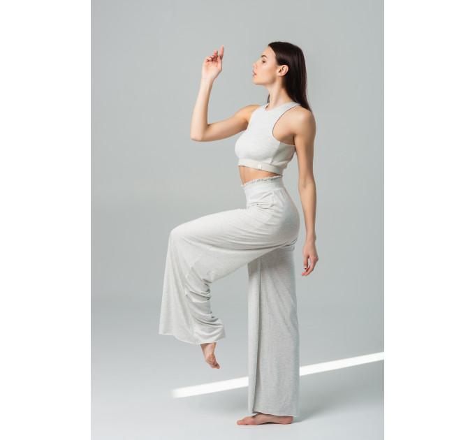 """Женский костюм из бамбука для занятий йогой и танцами с брюками палаццо """"Medellín-Hoi an Gray melange"""""""