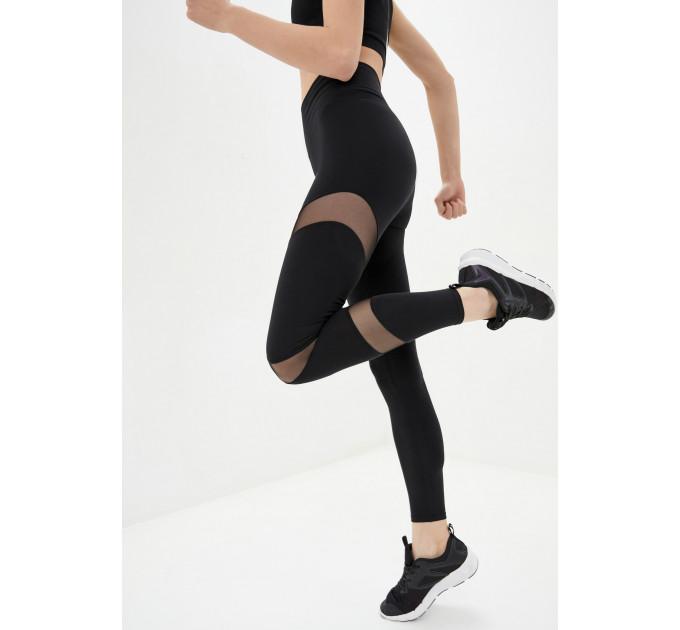 """Черный женский костюм для йоги и спорта из натуральной ткани с сеткой """"Rome Naples Black"""""""