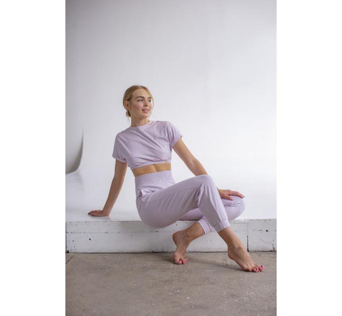 Женский спортивный костюм с штанами и укороченной футболкой топом Sindy Tripoli Lilac