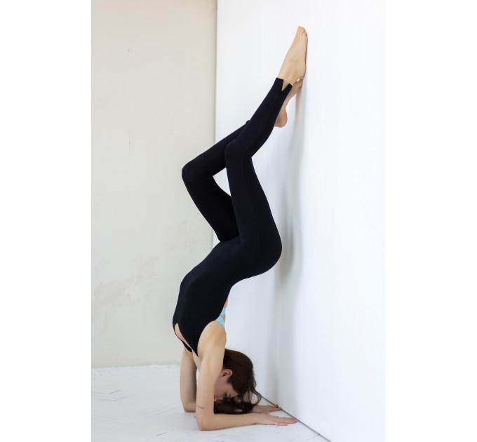 Черный женский спортивный комбинезон с открытой спиной Tel Aviv