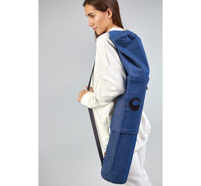 Чехол для йога коврика синего цвета из джинсы Denim